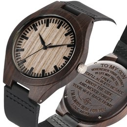 $enCountryForm.capitalKeyWord Australia - Black Engraved To My Son Series Wooden Watch for Men Elegant Leather Strap Wristwatch Minimalist Natural Wooden Watches for Boys