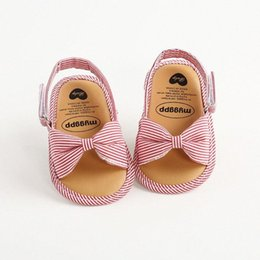 sandals pair UK - 1 Pair Toddler Infant Baby Shoes First Walkers Bowknot Shoes Summer 2020 Fashion Open Toe Sandals Stripe Casual Baby Girl 2y8Z#