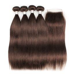 Brazilian Straight Human Hair Bundles UK - Chocolate Brown Human Hair Bundles With Closure #4 Brazilian Virgin Straight Hair 4 Bundles with 4*4 Lace Closure Remy Human Hair extensions