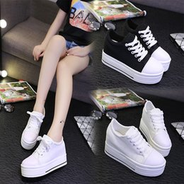 Korean Ladies Canvas Shoes Australia - beautiful Lady of spring and autumn Gobon Korean muffin increased thick canvas students high casual shoes