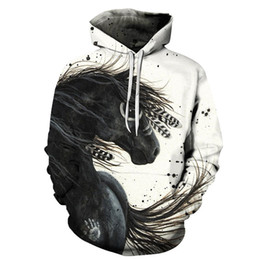 Wholesale colorful hoodies jackets resale online - Hot Sale Colorful Horse Printed Sweatshirt Men Women D Pullover For Male Hoodies Autumn Long Sleeve Man Jacket