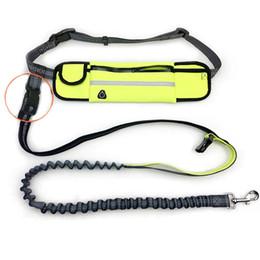 Led Reflective Belts Australia - Hand Free Elastic Dog Leash Adjustable Padded Waist Reflective Running Jogging Walking Pet Lead Belt With Pouch Bags ETO2010