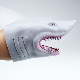 Wholesale funny puppets online – design Funny toys TPR environmental protection plastic shark hand puppet gloves toy storytelling doll props Prank props