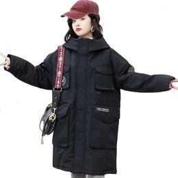 Korean blacK coat design online shopping - 2019 New Design Winter Women Down Jacket Oversized Loose Solid Female Winter Coat Hooded Long Parka Korean Style SH190930