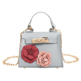 $enCountryForm.capitalKeyWord Australia - Portable solid zipper high quality fashion women's leather flower chain handbag slung shoulder bag small square bag Y413