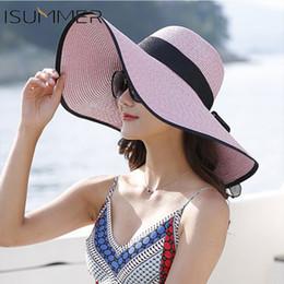 $enCountryForm.capitalKeyWord Canada - New 2019 Elegant Style Summer Large Brim Straw Hat Adult Women Girls Fashion Sun Hat uv Protect Big Bow Summer Beach Hat