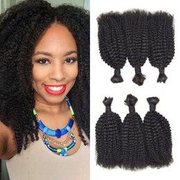 brazilian braiding 2019 - 4a,4b Afro Kinky Curly Bulk For Braiding Hair Natural Black No Weft Can Be Dyed 100% Brazilian Human Hair No Shedding G-