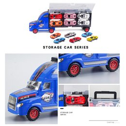 small helicopters UK - Hot Selling Children Hand ji zhuang che Alloy Container Front-Sliding Small Car Storage Toy Car