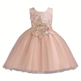 $enCountryForm.capitalKeyWord NZ - Girl Dresses Fiber Skirt With Emboridery Flower Lace Princess Dresses Formal Wedding Party And Ball Gown