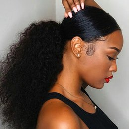 $enCountryForm.capitalKeyWord Australia - Pure Color Afro Curl virgin raw human Pony tail Natural Non Remy Pony tail horsetail tight hole Clip In Ponytail Hair Extensions 140g