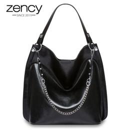 $enCountryForm.capitalKeyWord Canada - 2019 Fashion Zency 100% Genuine Leather Black Handbag Fashion Silver Women Shoulder Bag Lady Casual Tote Purse High Quality Charm Bags