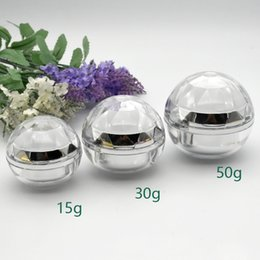 acrylic 15g cosmetic jars 2021 - 15g 30g 50g Spherical Diamond Shaped Cream Jar Gold Silver Acrylic Lotion Pot Empty Cosmetic Packing Containers