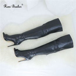 free drop shipping boots Australia - Women Thigh High Boots Comfortable Genuine Leather Handmade Shoes Peep Toe Over Knee Heels Drop Free Shipping