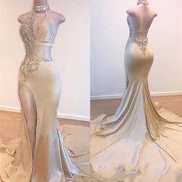 Water pipe art online shopping - Sequins High Neck Mermaid Prom Dresses Sexy Elastic Stain Front Side Slit Beading Evening Gowns