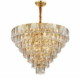 cottage home decor UK - gold modern crystal chandelier lighting in the living room luxury crystal lamp for dining room home decor gold light fixture