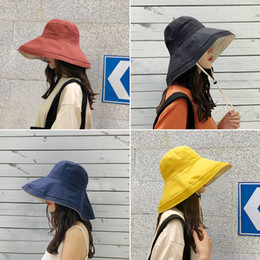 Korean Hats For Women Australia - Hot anti-UV wide Brim cotton linen sun hat vacation summer bucket hat large brim korean foldable beach hat for women