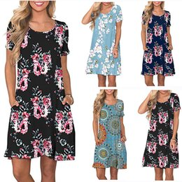 $enCountryForm.capitalKeyWord Australia - Plus Size Women's Long Summer Fashion Printing Cotton Pocket Short Sleeve T Shirt Dresses for Girls 14 Teen to 60 Camisole Skirt