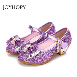 pink sandals for wedding UK - 5colors Children Princess Sandals Kids Girls Wedding Shoes High Heels Dress Shoes Bowtie Gold Shoes For Girls J190508