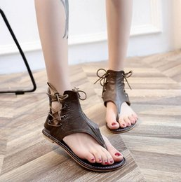 Sale Leather Sandals Canada - Hot Sale-Newest Brand Women Leather Sandal Striking Gladiator Style Designer Leather Outsole Perfect Flat Canvas Plain Sandal Size35-43