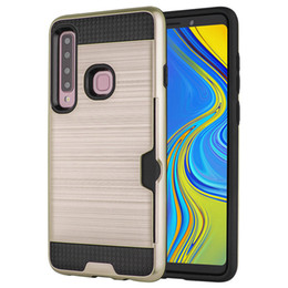 A6 Cards NZ - 50pcs For Galaxy A7 2018 A750 A9 2018 Case Credit Card Slot Brushed Hard PC+Rubber TPU Case For Samsung Galaxy A6 Plus 2018 A8 Plus