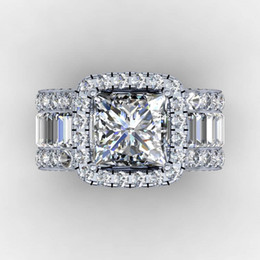 Wholesale Vintage Lovers Court ring 3ct Diamond 925 Sterling silver Engagement wedding band ring for women men Finger Jewelry Gift