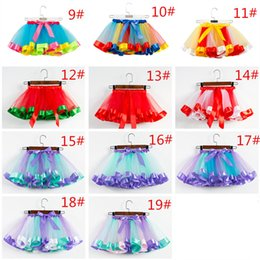 $enCountryForm.capitalKeyWord NZ - Girls Rainbow Tutu Skirt Tulle Dance Ballet Dress Toddler Rainbow Bow Mini Pettiskirt Party Dance Tulle Skirts Sport Dresses S-L 19 Colors