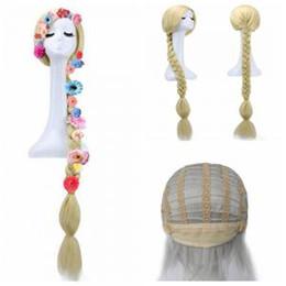 Carino Principessa lunga parrucca di capelli Animazione Parrucca Anime aggrovigliata parrucca treccia per bambini ragazze partito Accessori per capelli Cosplay Con 6 fiori AAA1583