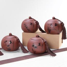 Tea Box Storage Australia - Large Purple Clay Tea Jar 900-1000ml Water Capacity Quality Home Storage Jar Kitchen Spices Storage Box 3 Sizes Tea Coffee Jars