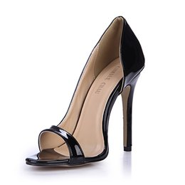0b932af8fcca Black Patent Sexy Party Women Shoes Peep Toe Stiletto Heels Side Open  Shallow Pumps Plus Size Zapatos Mujer 0640C-Q1