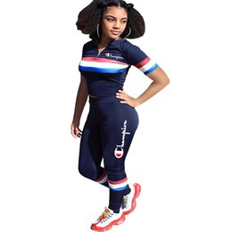 Dark Cycles NZ - Champions Women Two Piece Outfits Stripe Print Letter Embroidered Short Sleeve Crop Top Long Pant Set Slim Track Suit Dark Blue