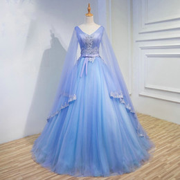 unique girls party dresses NZ - Unique Long Sleeves Party Prom Dresses 2019 Embroidery Pearls V-neck Ribbon Bow Dresses Evening Wear Quinceanera Dress For Sweet 16 Girls