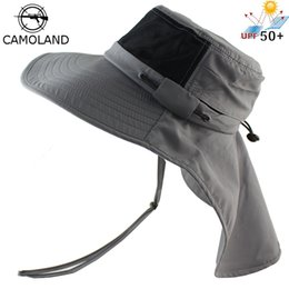 74456aab970 Summer Sun Hat Bucket Men Women Boonie Hat with Neck Flap Outdoor UV  Protection Large Wide Brim Hiking Fishing Mesh Breathable