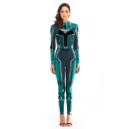 Jumpsuit Anime UK - 2019 Marvel heroes avengers 4 COS captain marvel cosplay leotards anime costumes women's digital jumpsuits superheroes