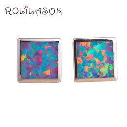 stamp square NZ - ashion stud earrings ROLILASON Stylish Square Style Orange & Green Fire Opal Birthday Gift Silver Stamped Stud Earrings Fashion Jewelry O...