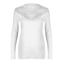 dda6db619cd0a0 Ladies Pink Lace Tops UK - Women Shirt Slim Long Sleeve Splice Crew Neck  Casual Lace