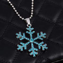 pendant south america Australia - Snowflake Crystal Necklace Christmas Gifts America 3D Anime Movie The Snow Queen Statement Necklace Snowflake Pendant Necklace