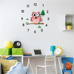 $enCountryForm.capitalKeyWord Australia - Cute Cartoon Wall Clocks Decorative Silent Living Room Wall Clock Watches For Kids Bedroom Home Art Sticker Decoration