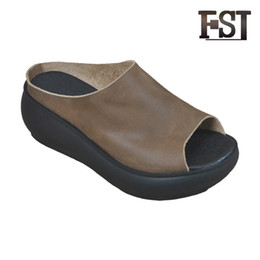 bce8b0a0e17e FSJ Genuine Cow Leather Woman Summer Sewing Casual Solid Slip On Slippers  Neutral Mature Wedges Slides Outside Pigskin shoes