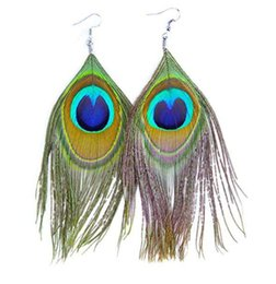 Peacock Lights Australia - Native Super Light Peacock Feather Dangle Earrings for women Hook style Valentine's day Mother's day Gift