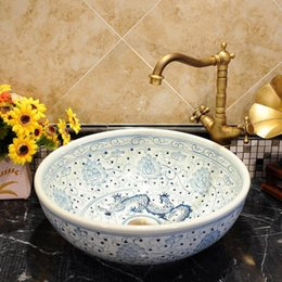blue chinese bowl UK - Chinese Antique ceramic sinks china wash basin Ceramic Counter Top Wash Basin Bathroom Sinks Blue And White wash bowl basin