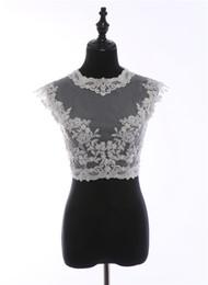 $enCountryForm.capitalKeyWord Australia - Delicate White Tulle beading Lace bolero jacket embroidery Wedding Shrug shoulders Sleeveless Lace Evening Dress Wedding Accessories