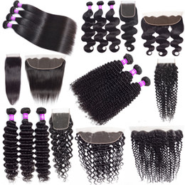 cheap black hair weave extension Australia - 9A Brazilian Cheap Human Hair Weave Bundles With Closure Deep Wave Kinky Curly Hair Extensions Virgin Hair Bundles With 13x4 Lace Frontal