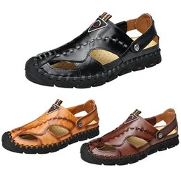 beach shoes holes UK - Summer 2019 New Outdoor Sandals Big Size Beach Shoes Fashion Men's Leisure Hole Shoes Size 38-46