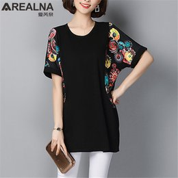 $enCountryForm.capitalKeyWord NZ - 2019 Summer Vintage Print Bat Sleeve Long Womens Tops And Blouses Plus Size 5xl Cotton Black Blouse Shirt Short Sleeve Lady Tops Y19062501