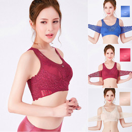 9d365aaee8f dropshiping Women Sexy Vest Front Cross Side Buckle Sports Bra Wireless  Lace Breathable Bra Without Steel Ring Gathers