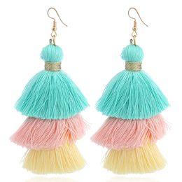 Jewelry for black white party online shopping - 3 Layered Bohemian Fringed Cheap Statement Tassel Earrings For Women Long Drop Dangle Earrings Boho Indian Jewelry