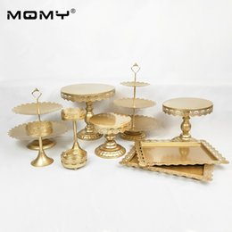 Decorate Cupcakes Australia - 10PCS Party Decorating Tray Crystal Set Dessert Wedding Gold 3tier 3 Tier Metal Tool Cupcake Serving Stand Cake