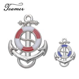 Small Pendants Australia - ashion Jewelry Charms Teamer Factory Price 5 Pieces Red & Blue Color Enamel Nautical Anchor Pendant Charms Small Findings for Neckalce br...
