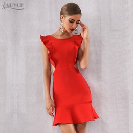 $enCountryForm.capitalKeyWord Australia - Adyce 2019 New Summer Arrival Women Bandage Dress Sexy Sleeveless Strapless Red Ruffles Mini Club Vestido Celebrity Party Dress T4190615