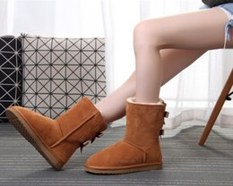 Snow Boots Size 42 Australia - Designer Women Winter Snow ankle boots Boots Fashion Australia Classic Short bow boots Ankle Knee Bow girl MINI Bailey Boot 2019 SIZE 35-42